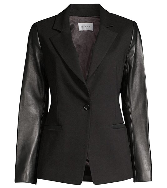 Milly leather-sleeve blazer in black