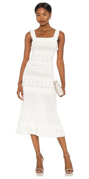Milly light weight pointelle midi dress in white