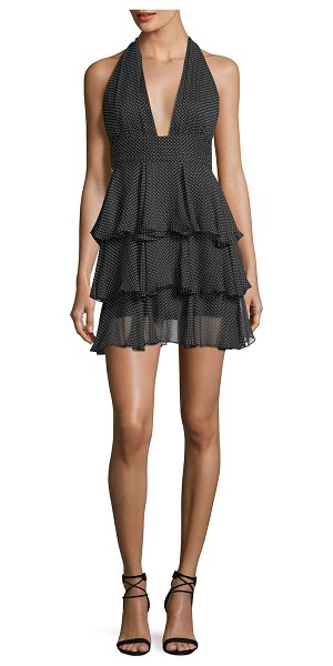 MILLY Mia Polka Dot Silk Tiered Mini Cocktail Dress | Shopstasy