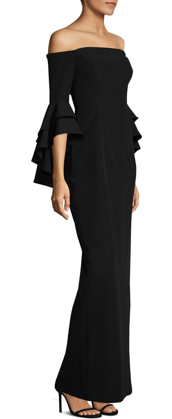 Milly Selena Double Ruffle Gown in Black | Shopstasy