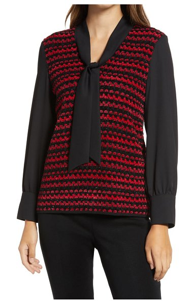 Ming Wang layered sweater in firecracker/black