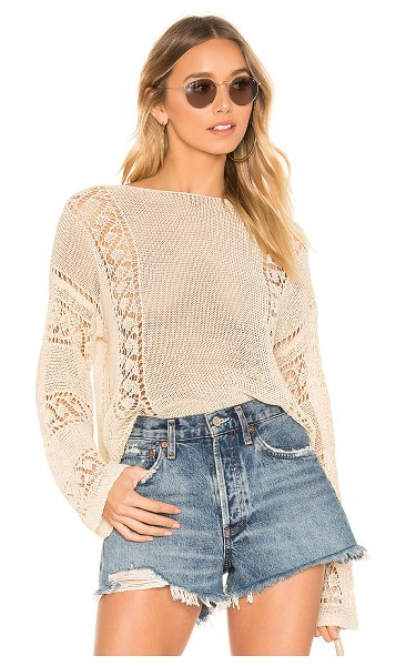 MINKPINK Anita Open Knit Sweater in beige - 70% acrylic 30% polyamide. Hand wash cold. Open knit...