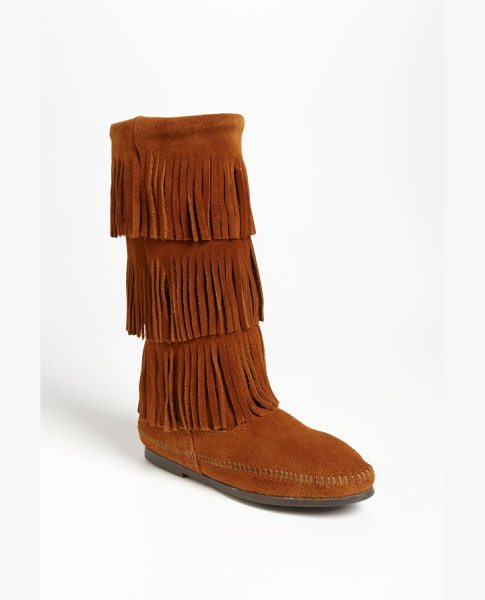 Minnetonka 3-layer fringe boot in brown suede