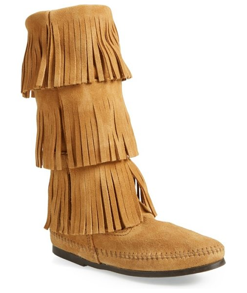 Minnetonka 3-layer fringe boot in taupe suede