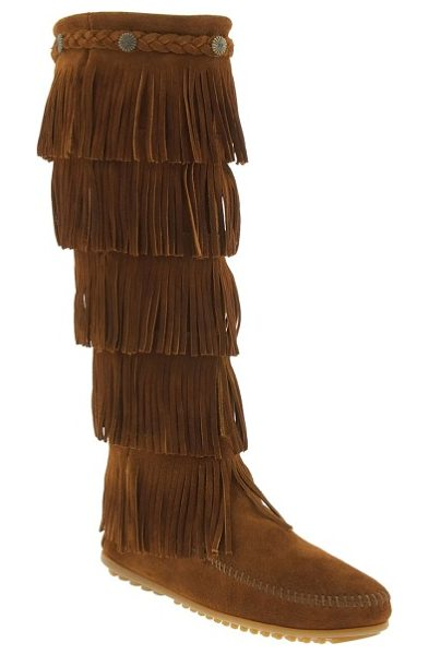 Minnetonka 1659 five layer fringe boot in brown