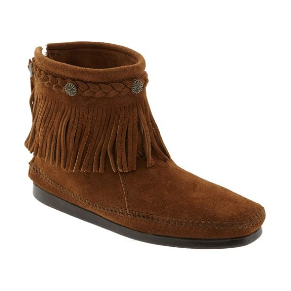 Minnetonka fringed moccasin bootie in brown