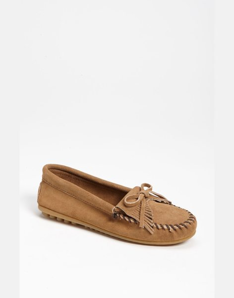Minnetonka 'kilty' suede moccasin in taupe suede