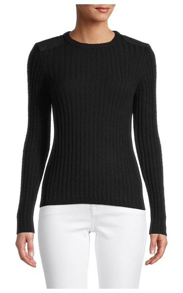 Minnie Rose Cashmere & Cotton-Blend Sweater in black