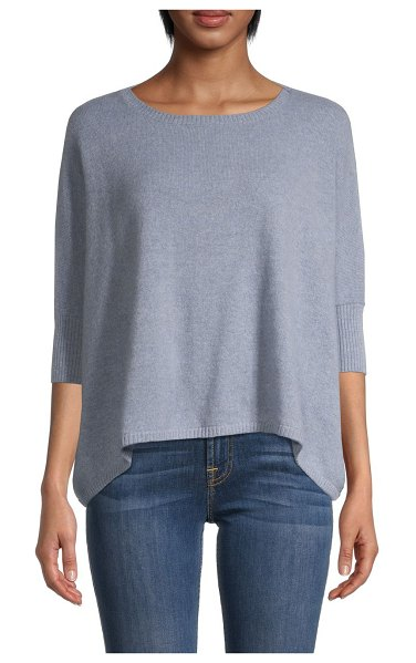 Minnie Rose Three-Quarter Sleeve Cashmere Sweater in vintage chambray