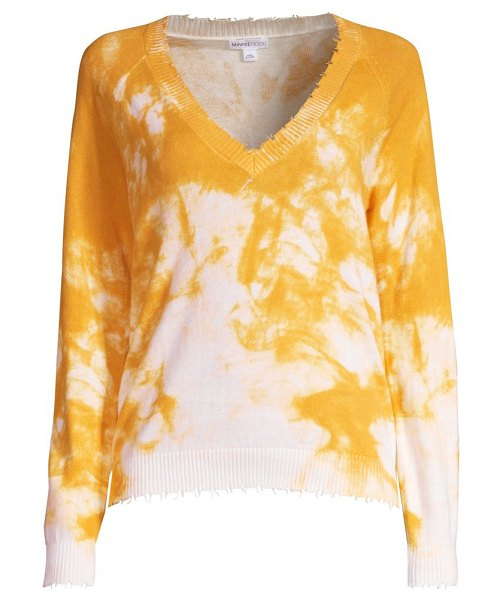 Minnie Rose tie-dye distressed v-neck sweater in sunflower