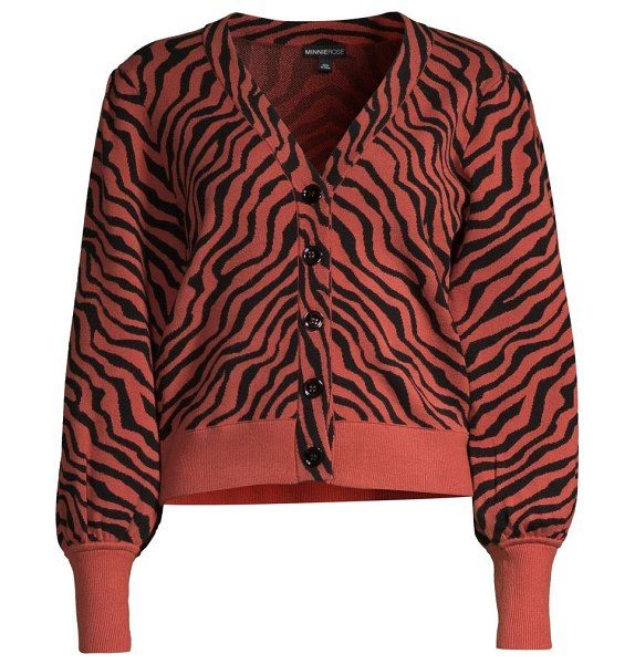 Minnie Rose tiger puff-sleeve sweater in clay black