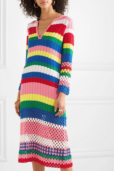 Mira Mikati striped ribbed and crocheted cotton dress in pink - Mira Mikati's collections are a reflection of her...