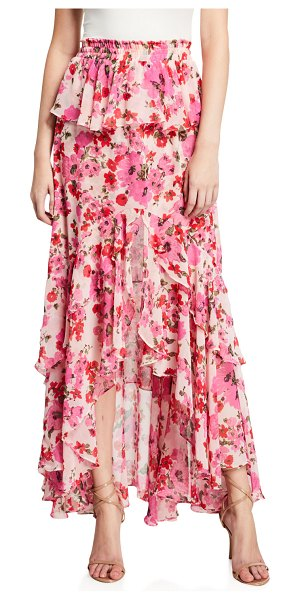 MISA Lucia Floral Tiered Split Long Skirt in pink
