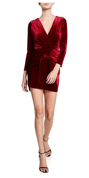 MISA Ophelie Velvet Tie-Front Dress in ruby