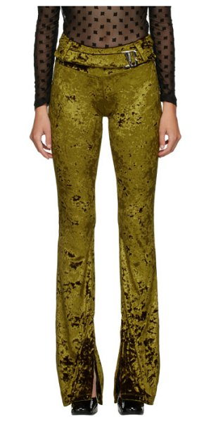 Misbhv green crushed velour trousers in moss green