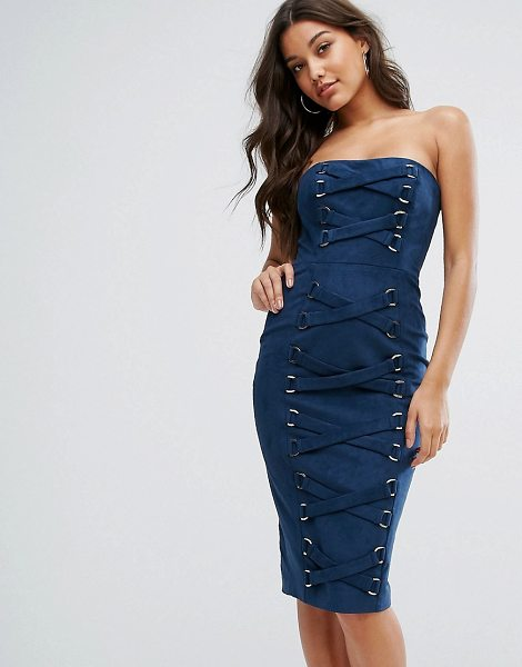 "Misha Collection collection bandeau pencil dress with corset lace up detail in navy - """"Pencil dress by Misha, Soft-touch faux suede, Bandeau..."