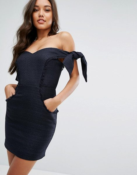 "Misha Collection collection boned mini dress with tie sleeves in navy - """"Dress by Misha, Textured woven fabric, Bardot neck,..."