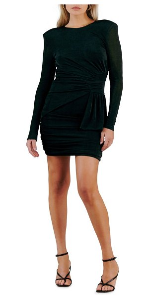 Misha Collection evetta open back long sleeve jersey minidress in black