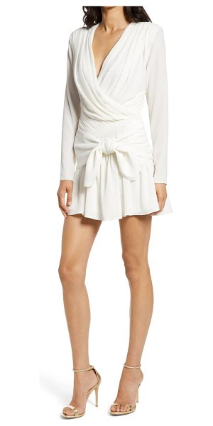 Misha Collection amelie long sleeve faux wrap dress in ivory