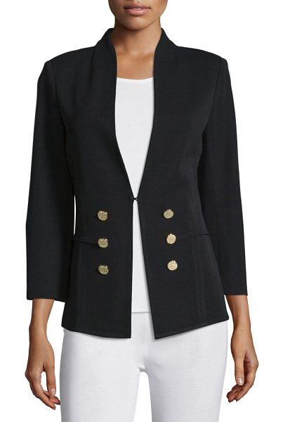 Misook 3/4-Sleeve Button-Front Jacket in black
