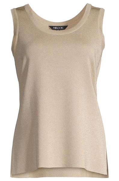 Misook double scoopneck knit tank in gold