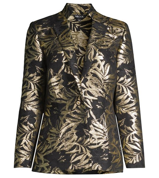 Misook gold foil botanical blazer in black gold