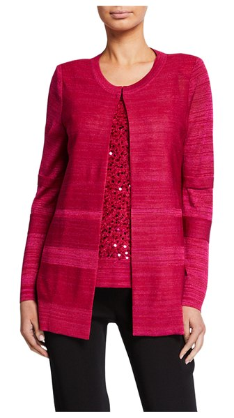 Misook Lurex Melange Cardigan in hollyhock