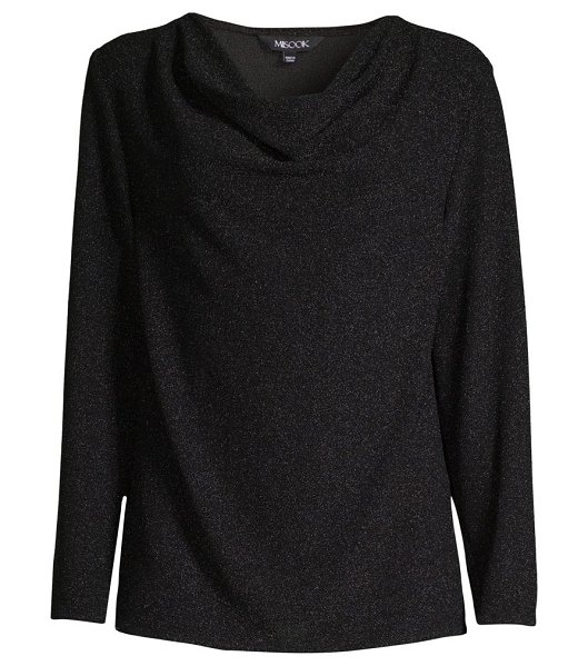 Misook sparkle cowlneck tunic in black
