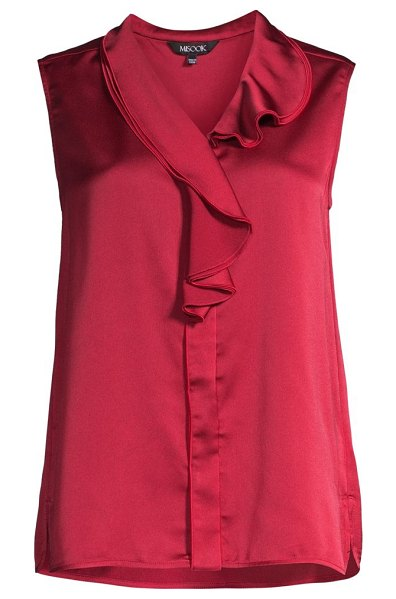 Misook waterfall ruffle crepe de chine blouse in rapture red