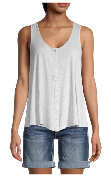 Miss Me Button-Front Tank Top in heather grey