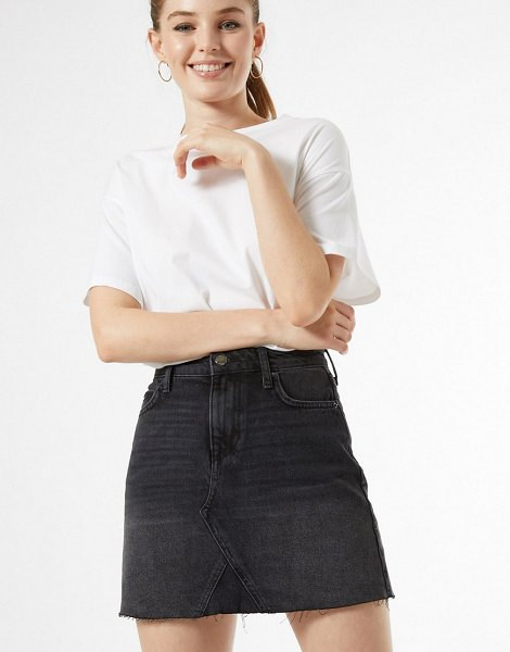 Miss Selfridge denim mini skirt in black in black