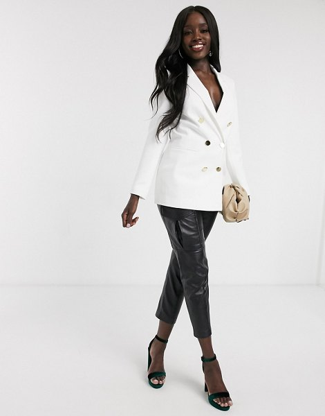 Miss Selfridge double breasted blazer in ivory-white in white