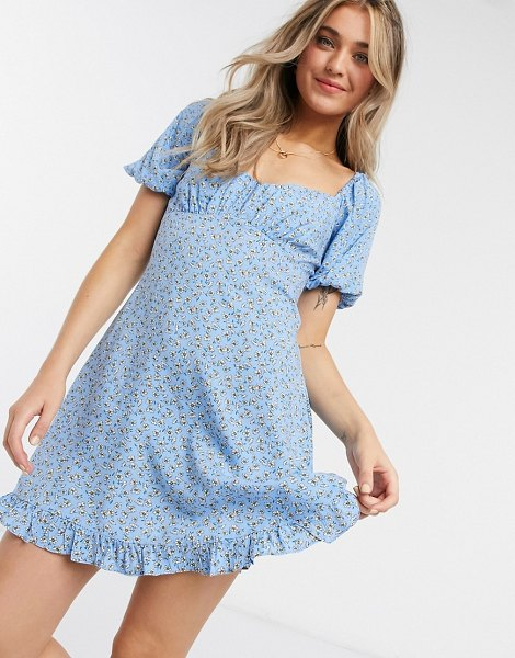 Miss Selfridge mini dress with square neck in blue floral in blue