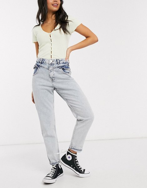 Miss Selfridge mom jeans with frill pocket in light wash-blue in blue