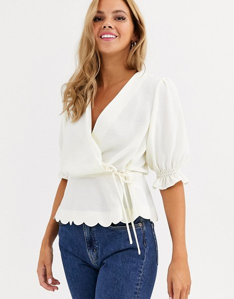 Miss Selfridge wrap blouse with scallop hem in ivory-cream in cream