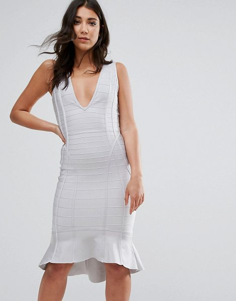 "MISSGUIDED Gray Bandage Plunge Frill Hem Midi Dress in gray - """"Midi dress by Missguided, Smooth stretch fabric,..."