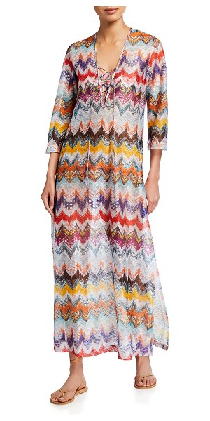 Missoni Costume Zigzag Lace-Up Coverup Dress in sm60h