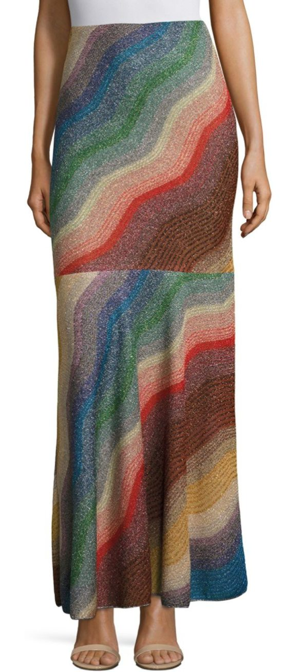 MISSONI ombre wave skirt - Long metallic skirt in vibrant wave print. Concealed side...