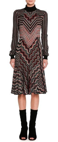 MISSONI Patchwork Jacquard Turtleneck Sweater Dress - Missoni dress in zigzag and tartan patchwork jacquard knit....
