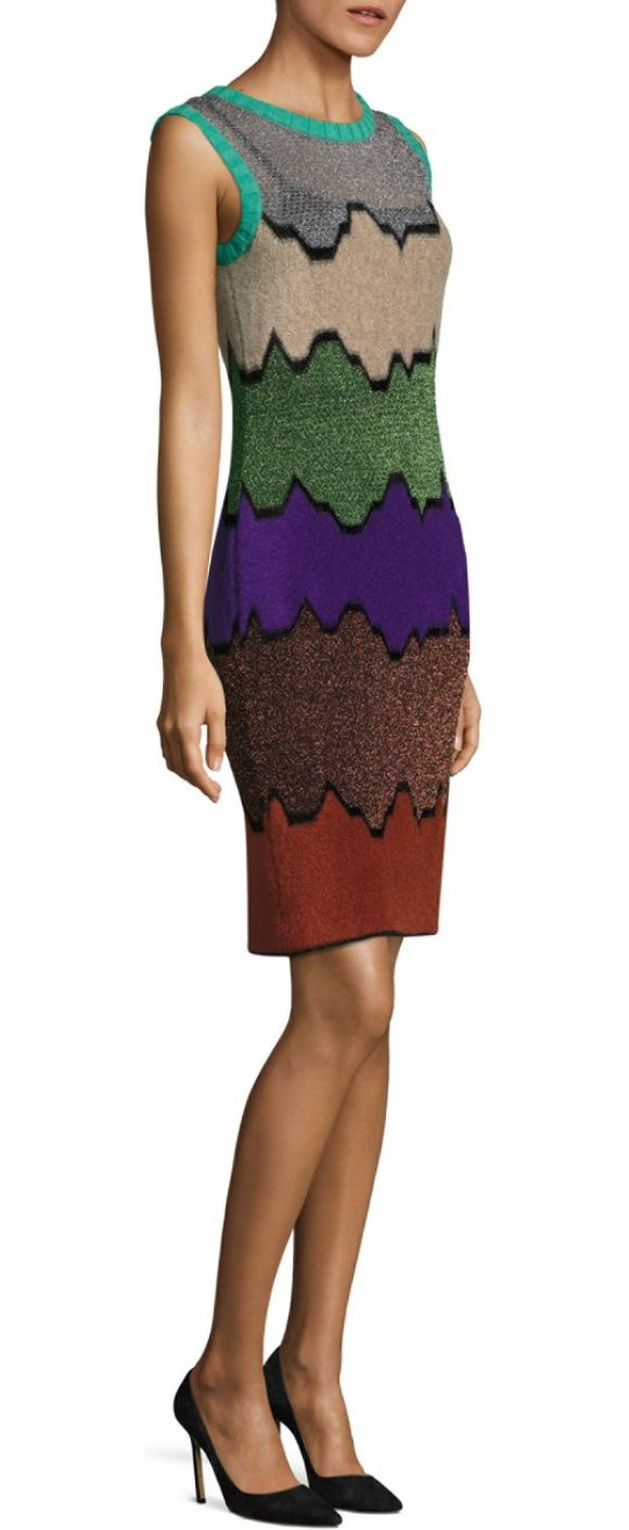 MISSONI sleeveless colorblock sheath dress - A bold colorblock design lends abstract appeal....