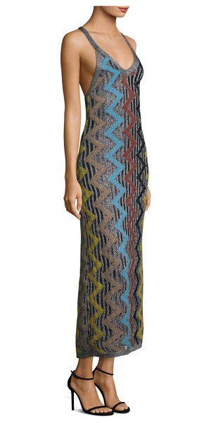 Missoni zigzag scoopneck maxi dress in silver zig zag - A vibrant zigzag motif adds a quirky touch to this...