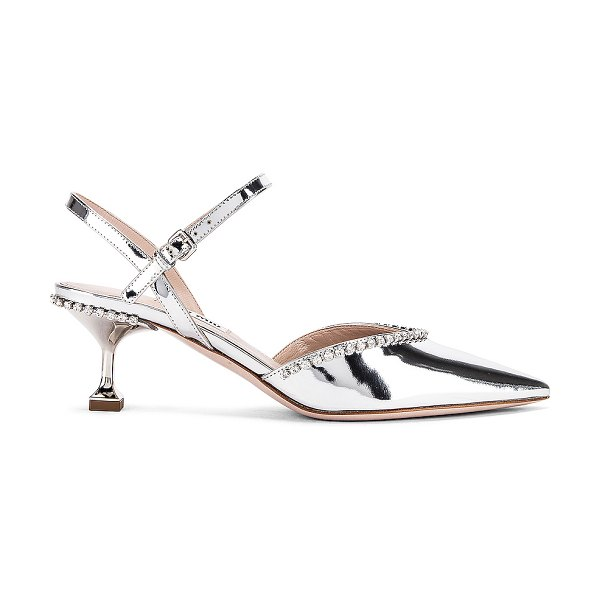 Miu Miu ankle jewel pumps in silver
