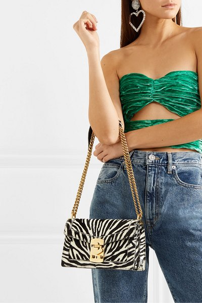 Miu Miu cavallino zebra-print calf hair shoulder bag in zebra print