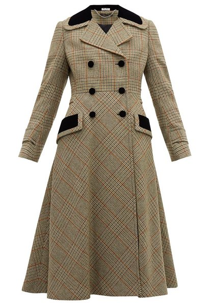 Miu Miu checked double breasted wool blend coat in green multi