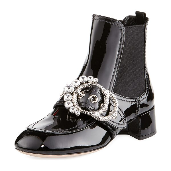 Miu Miu Crystal-Embellished Patent Booties in black - Miu Miu patent leather ankle boot with...