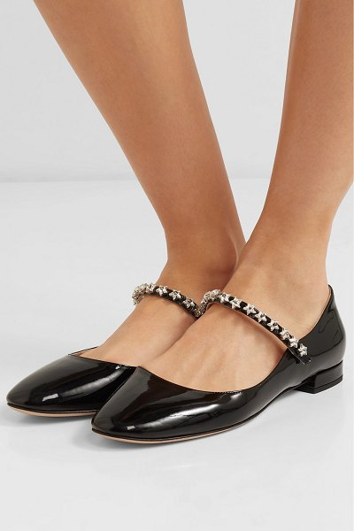 Miu Miu crystal-embellished patent-leather mary jane ballet flats in black
