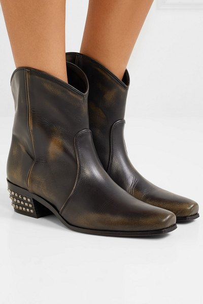 Miu Miu distressed studded leather ankle boots in black