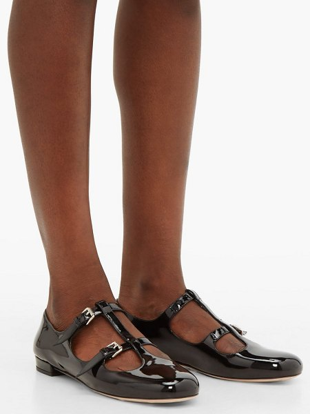 Miu Miu double buckle patent leather flats in black