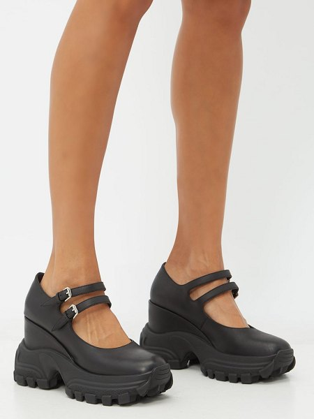 Miu Miu exaggerated-sole mary jane leather wedges in black
