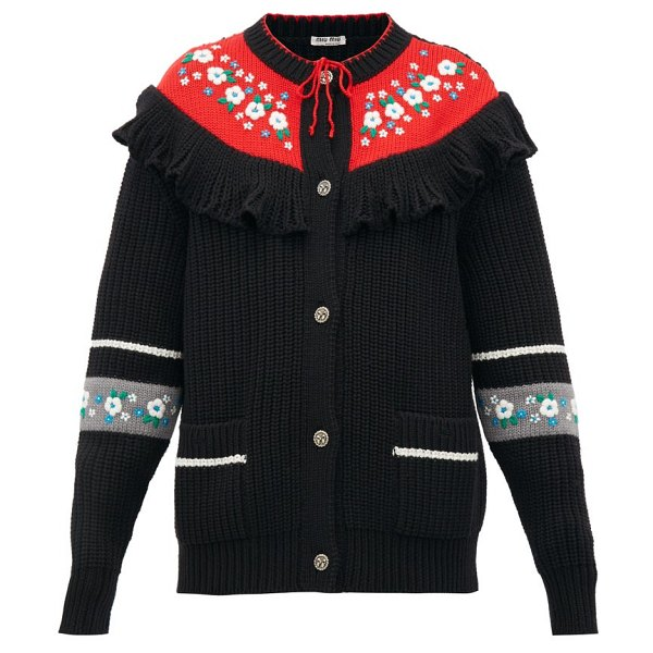 Miu Miu floral-embroidered wool cardigan in black multi